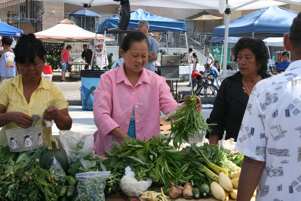 Shoppers purchase produce at City Heights farmers market