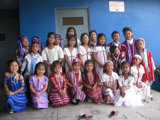 Group photo of children in costume